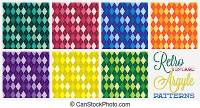 Retro vintage argyle patterns in vector format.