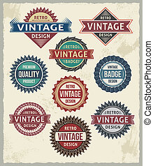Retro Vintage Badge Label Designs - Set of retro vintage...