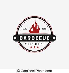 Retro Vintage Barbecue Grill, BBQ, Steak Emblem Label Logo Design