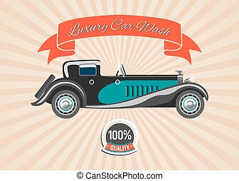 Retro vintage car with banner and badge on retro stripped vector background. Retro cars and automobiles wash poster.