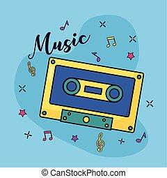 retro vintage cassette music colorful background