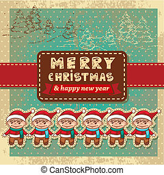 retro vintage christmas card