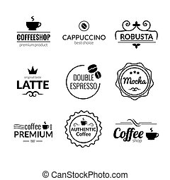 Retro Vintage Coffee Labels Logo design vector typography lettering inspiration templates. Retro elements, business signs, badges, logos, label, stamps and symbols