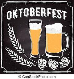 Oktoberfest vector illustration. - Retro vintage design....