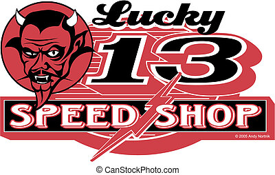 Retro Vintage Devil Racing Sign Art
