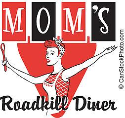 Retro Vintage Diner Restaurant Sign - Retro vintage diner or...