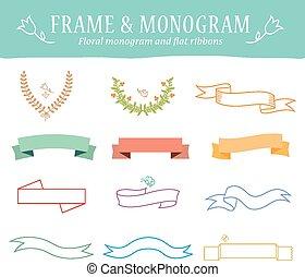 retro vintage elements vector set with ribbons, labels, badges