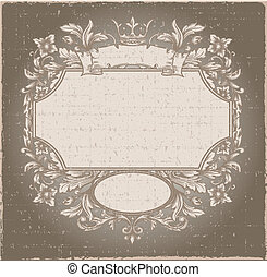 Retro vintage emblem. Vector vintage border frame engraving with retro ornament pattern in antique rococo style decorative design