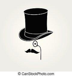 Retro, vintage gentleman icon. Vector illustration