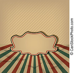 Illustration retro vintage grunge label, sun rays background - vector