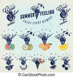 Retro vintage style Ice Cream design. Set of Calligraphic titles and symbols for Ice Cream type. Hand lettering style. Apple, Melon, Lemon, Orange and Cherry illustrations. Gelato