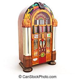 Retro vintage jukebox on a white background.3d model