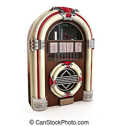 Retro vintage jukebox on a white background.3d model