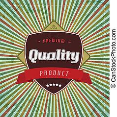 Retro vintage label on stripe background.