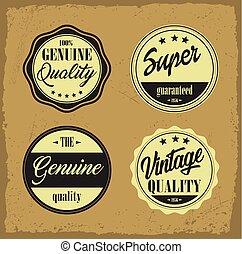 Retro vintage labels with grunge background.eps