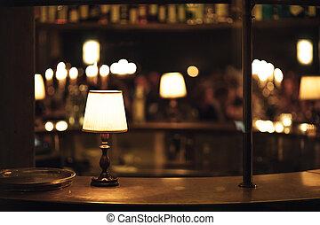 retro vintage lamp in pub interior, bar or restaurant