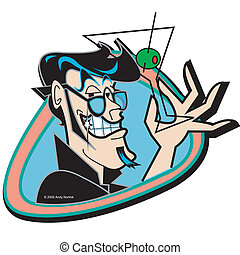 Retro Vintage Man Martini Glass Art - Retro or vintage man...