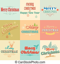 Retro Vintage Merry Christmas labels
