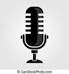 Retro, vintage microphone icon. Vector illustration