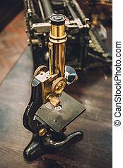 Retro vintage microscope
