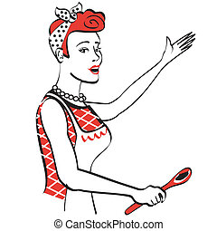 Retro or vintage 1940s or 1950s style mom or mother cooking or baking clip art.