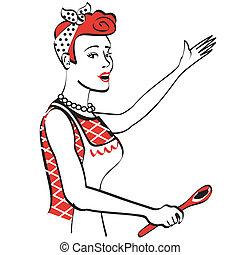 Retro Vintage Mom Mother Cooking - Retro or vintage 1940s or...
