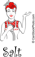Retro or vintage mom or mother holding a salt shaker sign in 1940s or 1950s line art style.