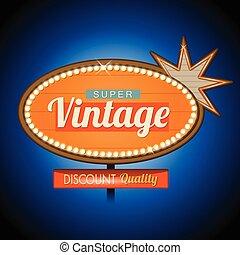 Retro vintage motel banner sign