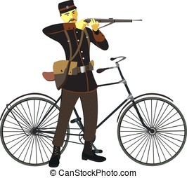 Retro vintage old bicycle and military man vector...
