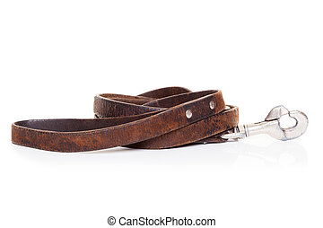 retro vintage old brown leather leash , isolated on white background