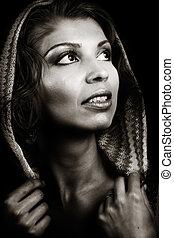 Retro vintage portrait of elegant woman
