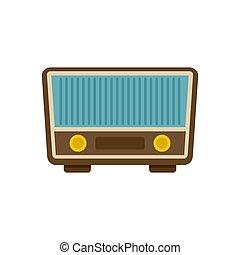 Retro vintage radio icon, flat style