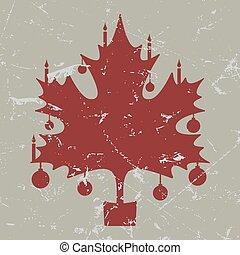 retro-vintage red Christmas maple leaf card