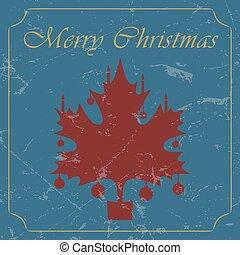 retro - vintage red Christmas maple leaf card
