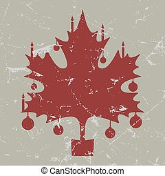 retro-vintage red Christmas maple leaf card