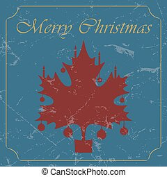 retro - vintage red Christmas maple leaf card