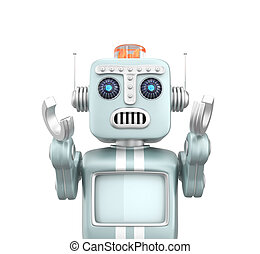 Retro vintage robot raising hands and looks sorrow.
