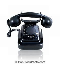 Retro vintage rotary telephone isolated on a white background