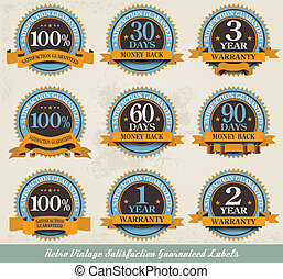 Retro vintage satisfaction guaranteed labels frame design