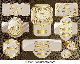 retro vintage set of white gold label - Retro vector gold...