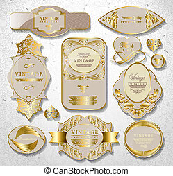 retro vintage set of white gold label - gold white card,...