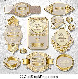 retro vintage set of white gold label - gold white card,...