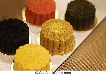 Retro vintage style Chinese mid autumn festival foods. Traditional mooncakes on table setting with teacup. The Chinese words on the mooncakes means assorted fruits nuts,
