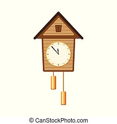 Retro, vintage style cuckoo clock with two weights -...