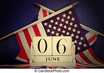 Retro vintage style D-Day calendar and USA and British flags...