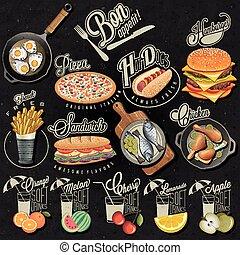 Retro vintage style fast food