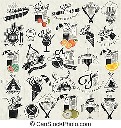 Retro vintage style restaurant menu designs. Set of Calligraphic titles and symbols. Fast Food. Hand lettering style. Orange, Melon, Apple and Cherry illustrations. Ice Cream. Typographic. Vector