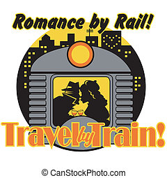 Retro Vintage Train Sign Clip Art