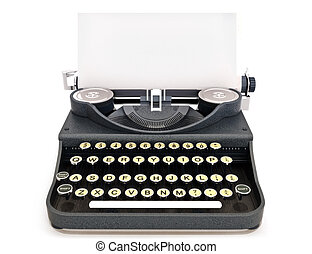 Retro vintage typewriter front view with paper, room for...
