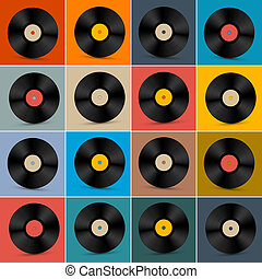 Retro, Vintage Vector Vinyl Record Disc Set on Colorful...